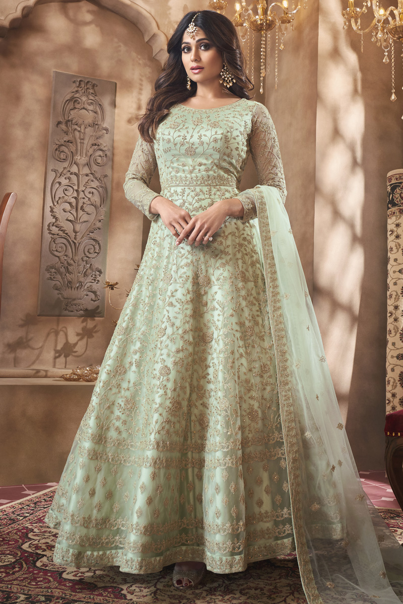 Shamita Shetty Net Fabric Function Wear Designer Anarkali Suit In Sea Green Color
