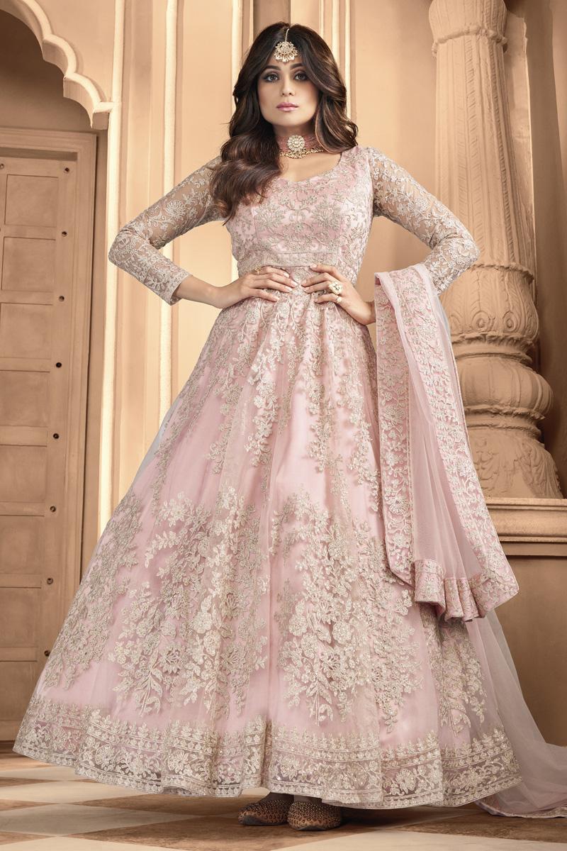 Shamita Shetty Festive Wear Designer Anarkali Salwar Suit In Peach Color Net Fabric