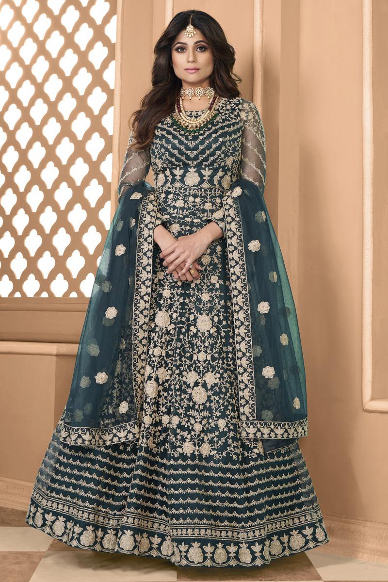 Shamita Shetty Teal Color Net Fabric Sangeet Wear Designer Anarkali Salwar Kameez