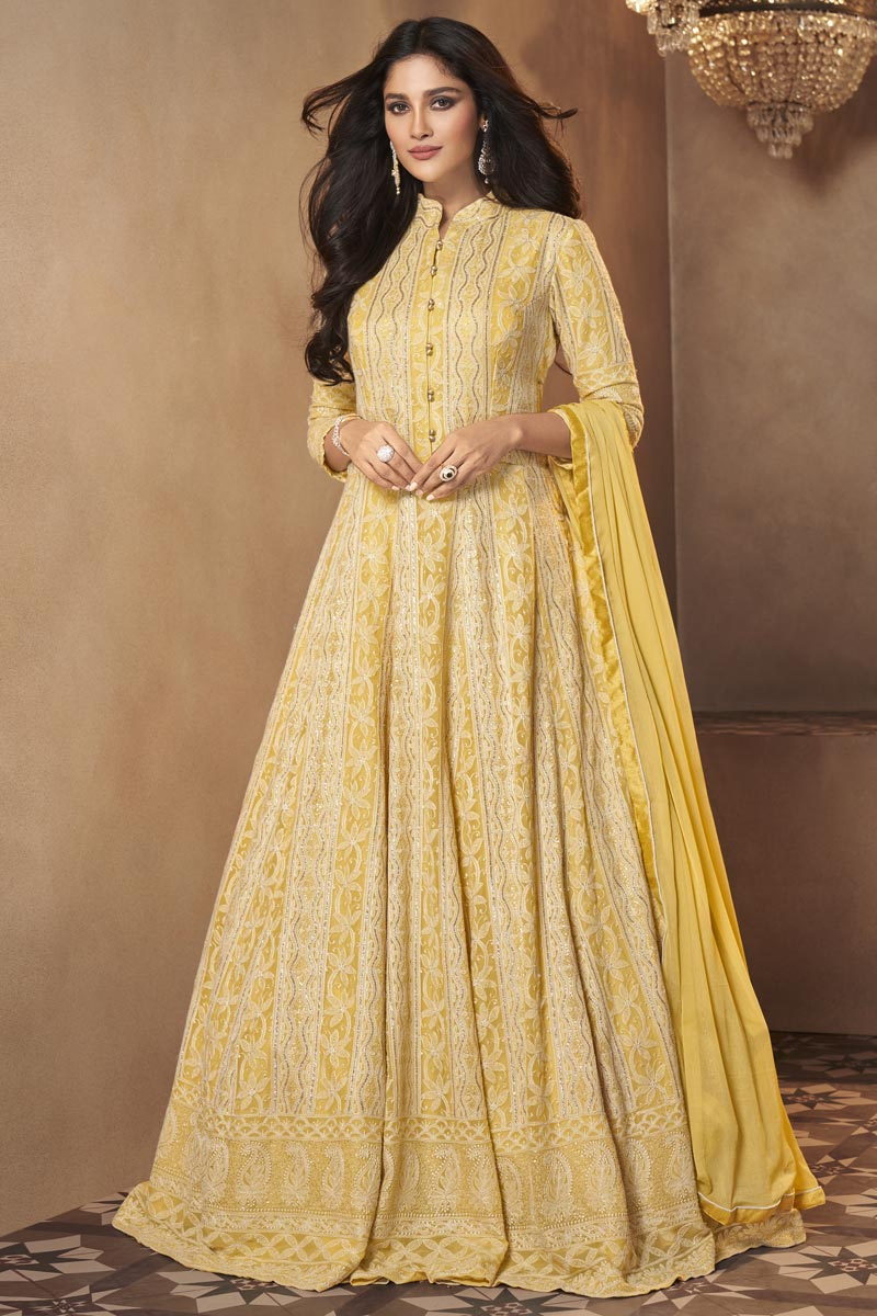Function Wear Yellow Color Trendy Embroidered Gown Style Anarkali Dress