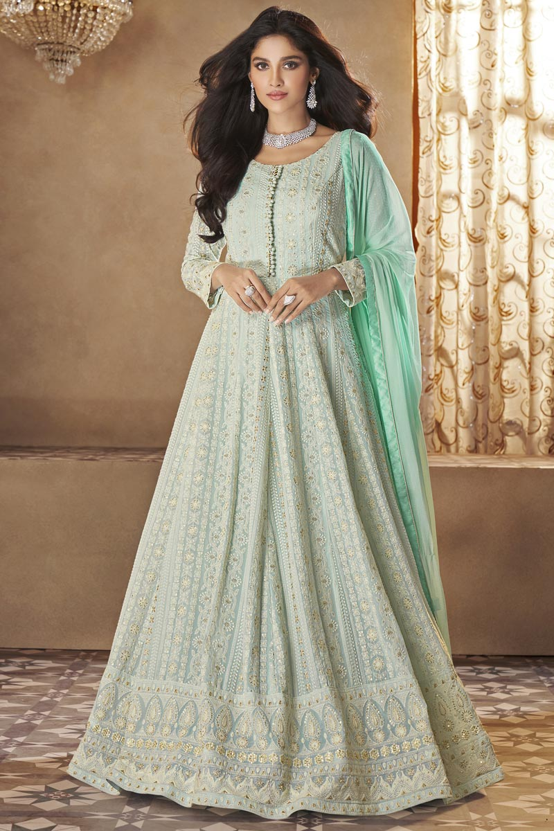 Function Wear Light Cyan Color Embroidered Trendy Gown Style Anarkali Suit