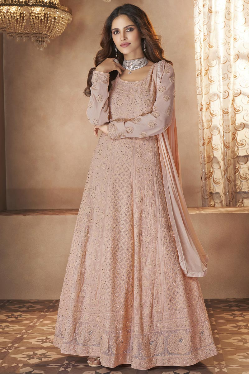 Peach Color Function Wear Embroidered Trendy Gown Style Anarkali Dress