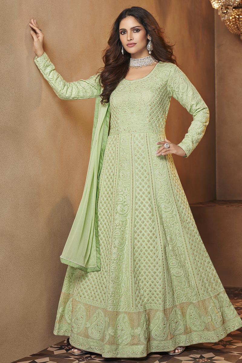 Sea Green Color Function Wear Trendy Embroidered Gown Style Anarkali Suit