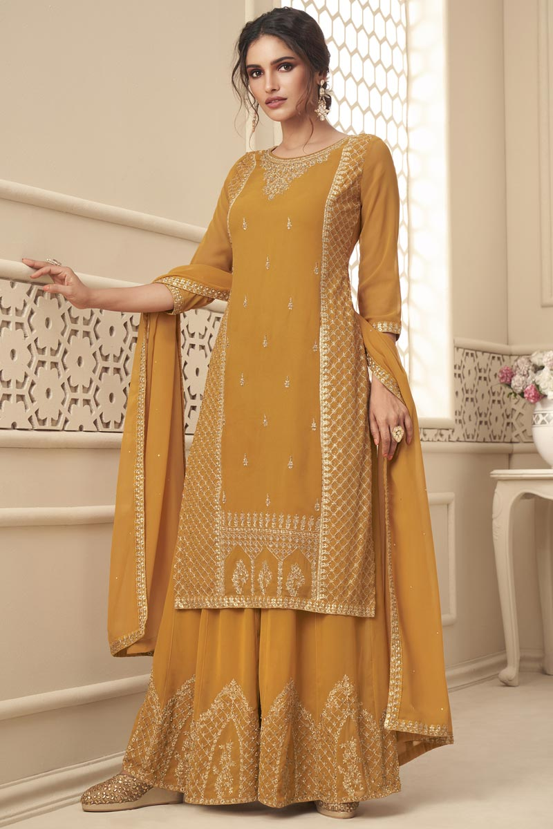Mustard Color Sangeet Wear Fancy Embroidered Palazzo Suit In Georgette Fabric
