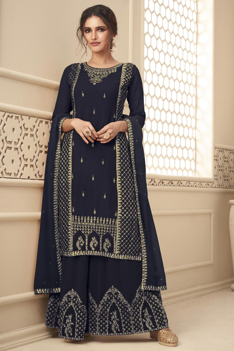Sangeet Wear Navy Blue Color Embroidered Fancy Palazzo Suit In Georgette Fabric