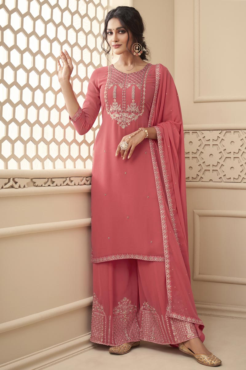 Pink Color Sangeet Wear Embroidered Fancy Georgette Fabric Palazzo Dress
