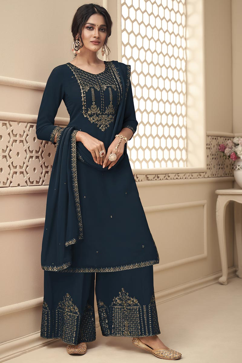 Sangeet Wear Navy Blue Color Fancy Embroidered Palazzo Georgette Fabric Dress