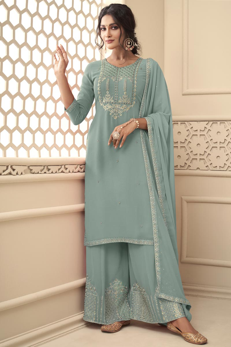 Sangeet Wear Light Cyan Color Fancy Georgette Fabric Embroidered Palazzo Dress
