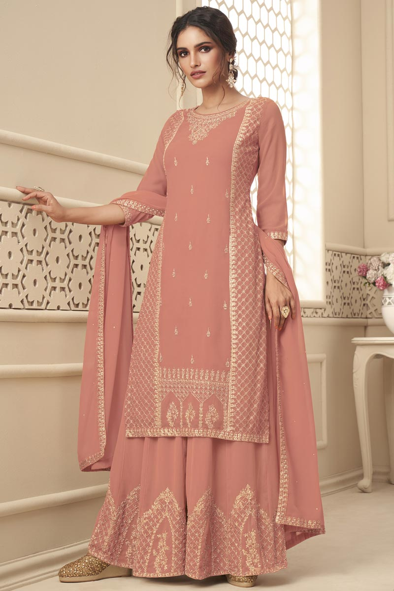 Peach Color Sangeet Wear Fancy Embroidered Palazzo Suit In Georgette Fabric