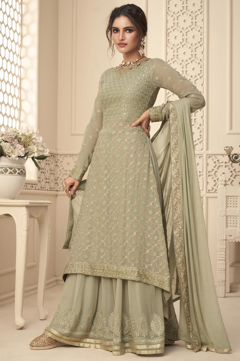 Georgette Fabric Sangeet Wear Fancy Embroidered Palazzo Suit In Cream Color