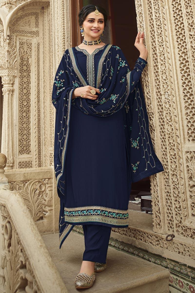 Prachi Desai Navy Blue Color Festive Wear Embroidered Georgette Fabric Palazzo Suit