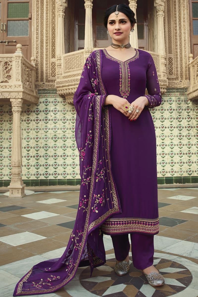 Prachi Desai Purple Color Function Wear Embroidered Georgette Fabric Palazzo Suit