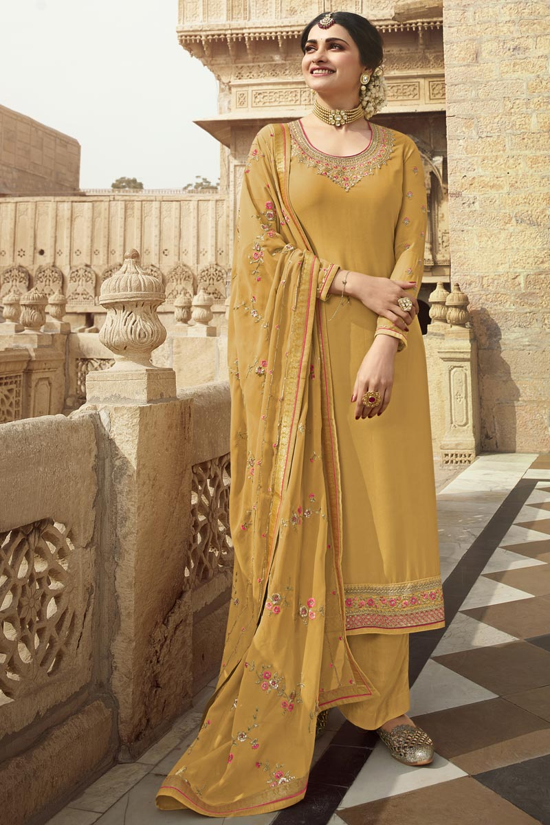 Prachi Desai Georgette Fabric Party Wear Yellow Color Designer Embroidered Palazzo Suit