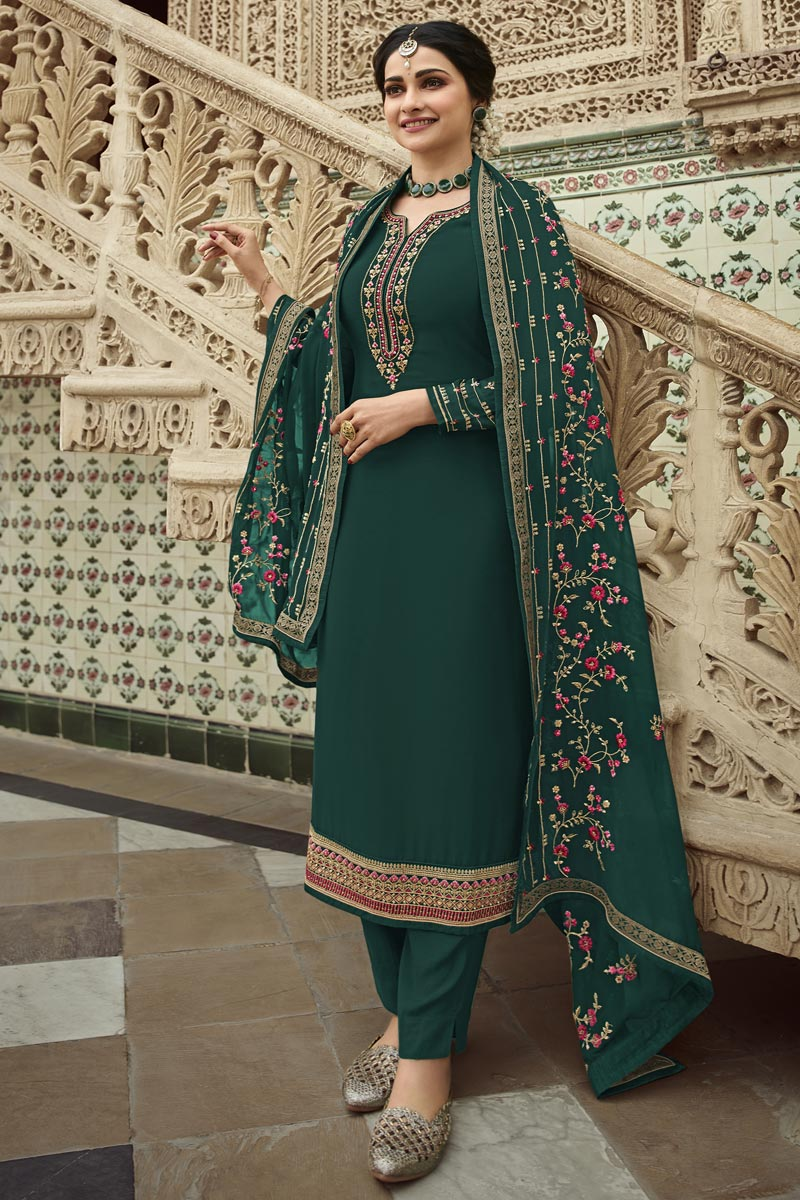 Prachi Desai Dark Green Color Georgette Fabric Sangeet Wear Embroidered Palazzo Suit