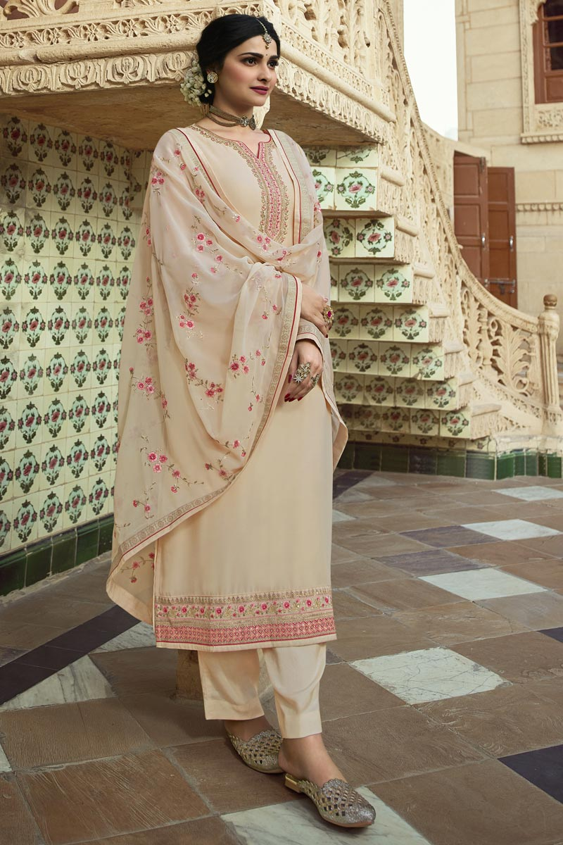 Prachi Desai Georgette Fabric Wedding Wear Embroidered Palazzo Suit In Beige Color