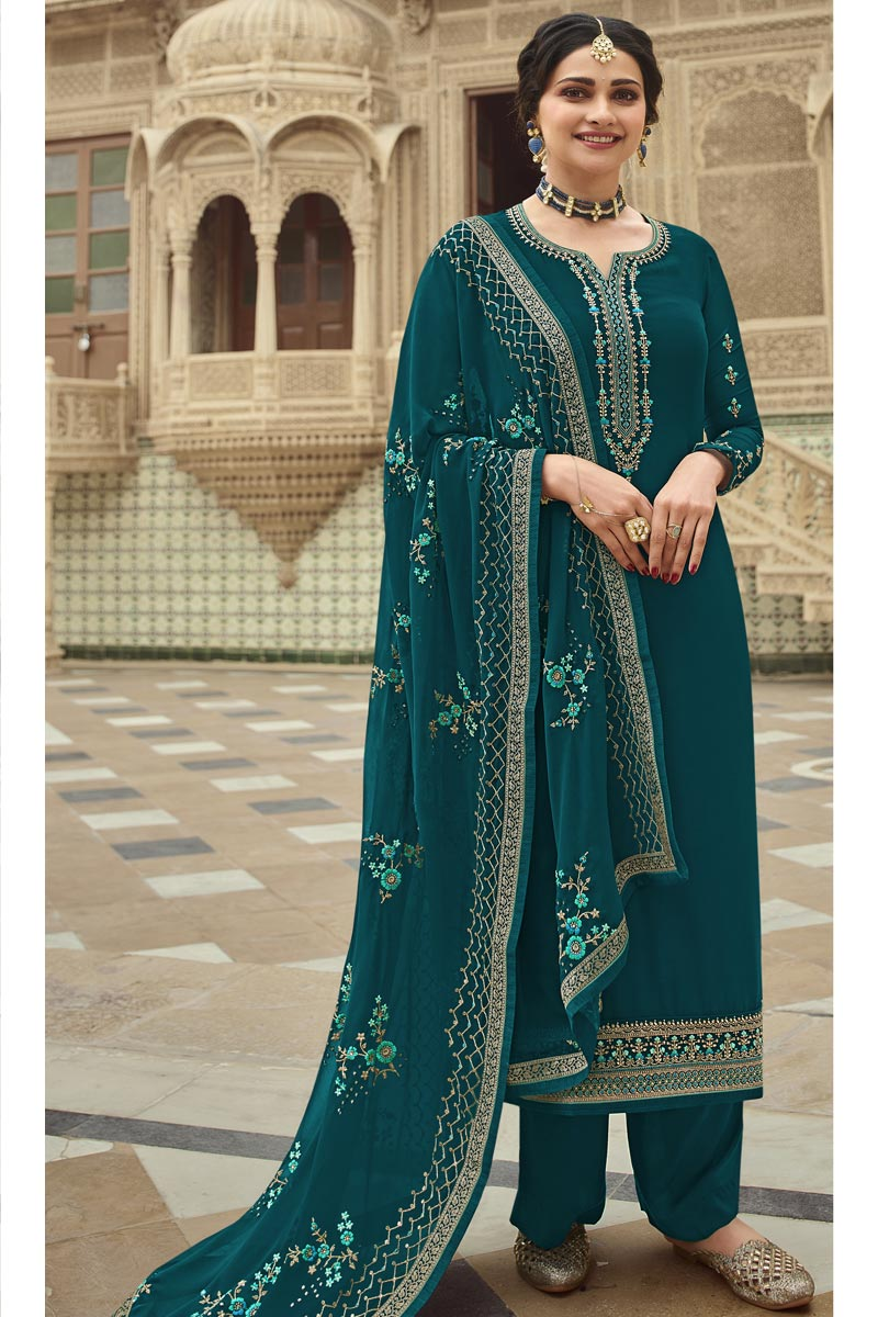 Prachi Desai Reception Wear Georgette Fabric Teal Color Embroidered Palazzo Suit