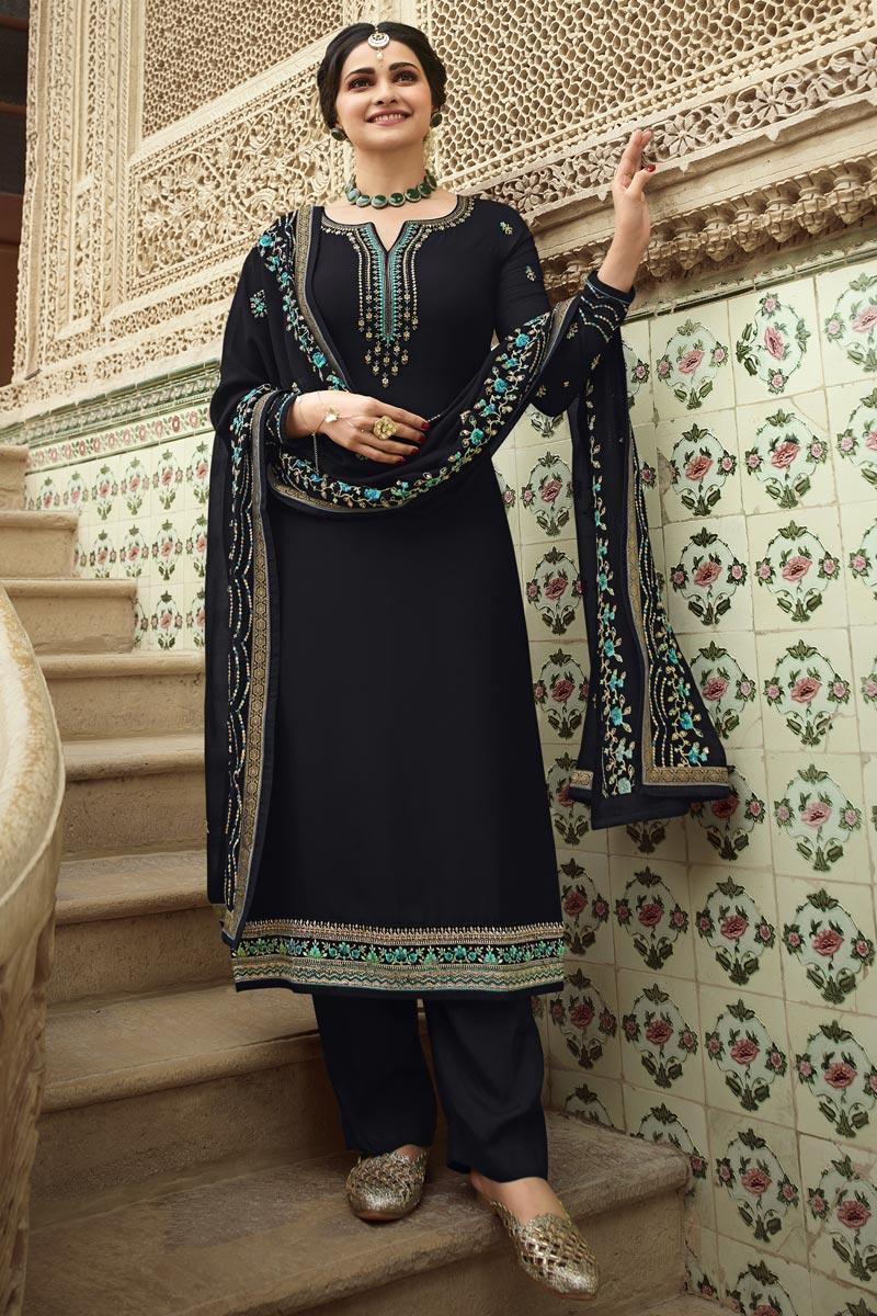 Prachi Desai Georgette Fabric Festive Wear Designer Embroidered Black Color Palazzo Suit