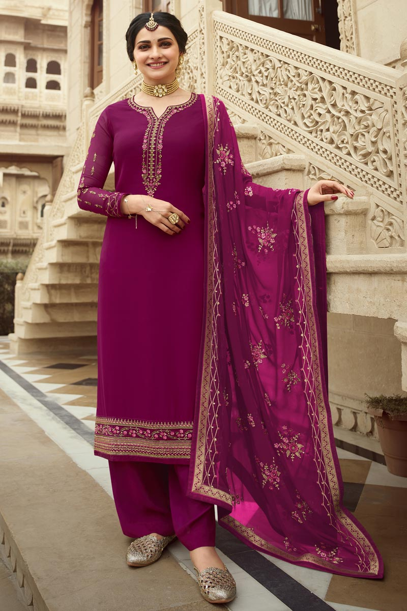 Prachi Desai Georgette Fabric Function Wear Embroidered Magenta Color Palazzo Suit
