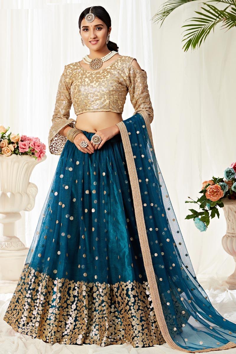Teal Color Sangeet Wear Net Fabric Thread Embroidered Lehenga Choli