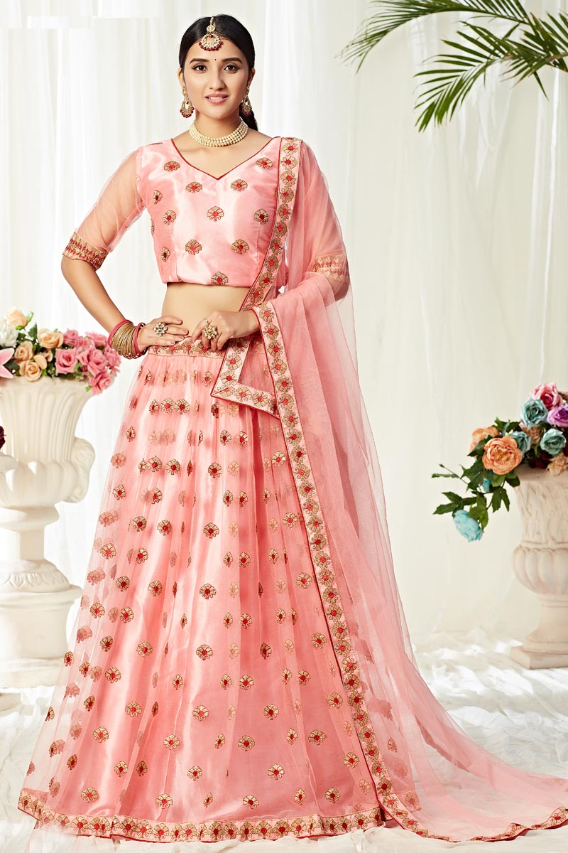 Pink Color Sangeet Wear Thread Embroidered Net Fabric Lehenga Choli