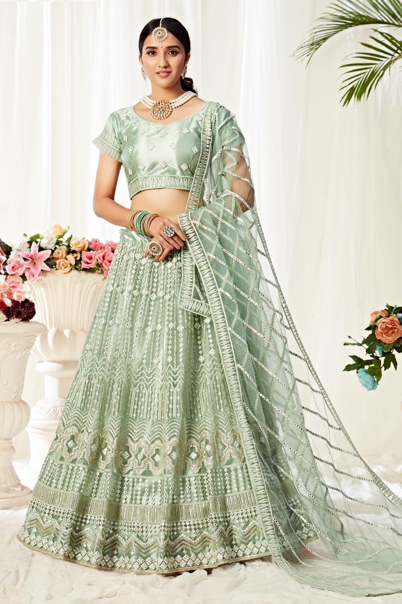 Sea Green Color Sangeet Wear Thread Embroidered Lehenga Choli In Net Fabric