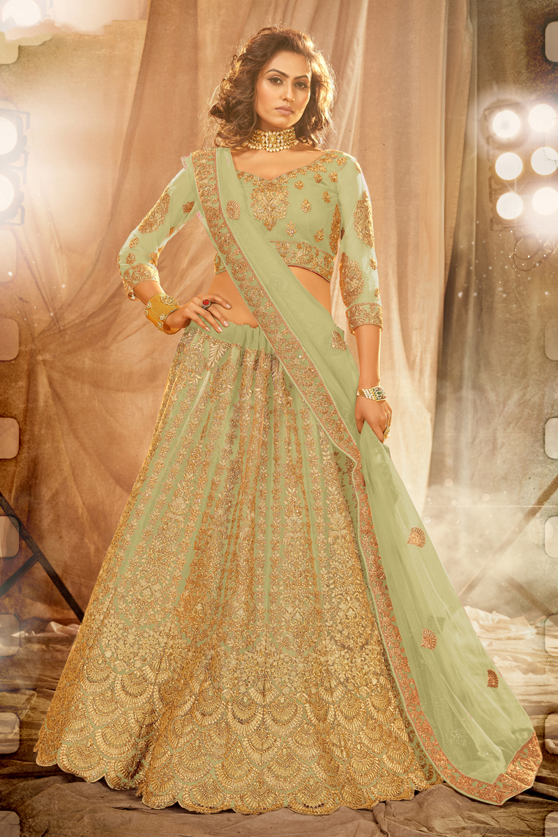Net Fabric Wedding Wear Sea Green Color Embroidered Lehenga Choli