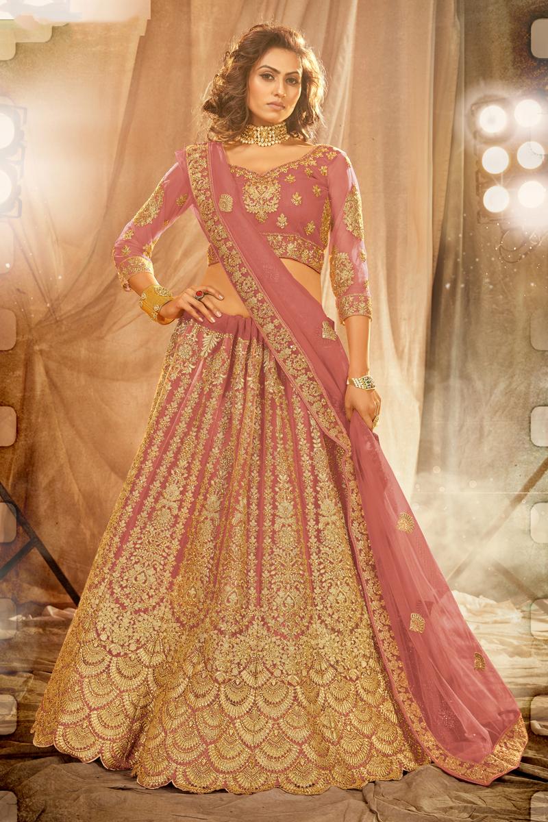 Peach Color Embroidered Wedding Wear Lehenga Choli In Net Fabric