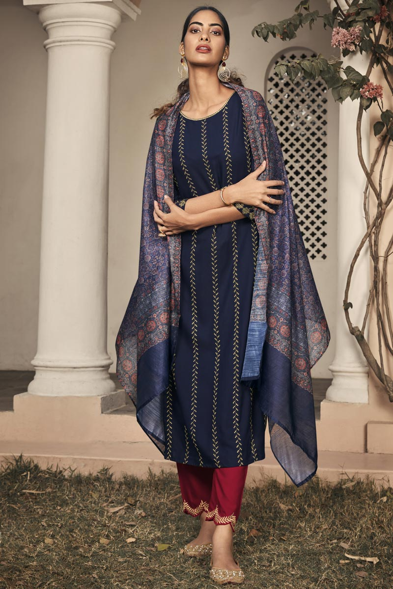 Party Wear Navy Blue Color Embroidered Readymade Straight Cut Suit In Rayon Fabric