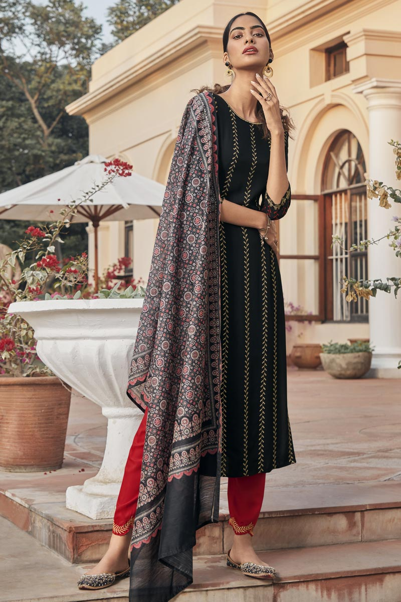 Black Color Party Wear Embroidered Readymade Straight Cut Suit In Rayon Fabric
