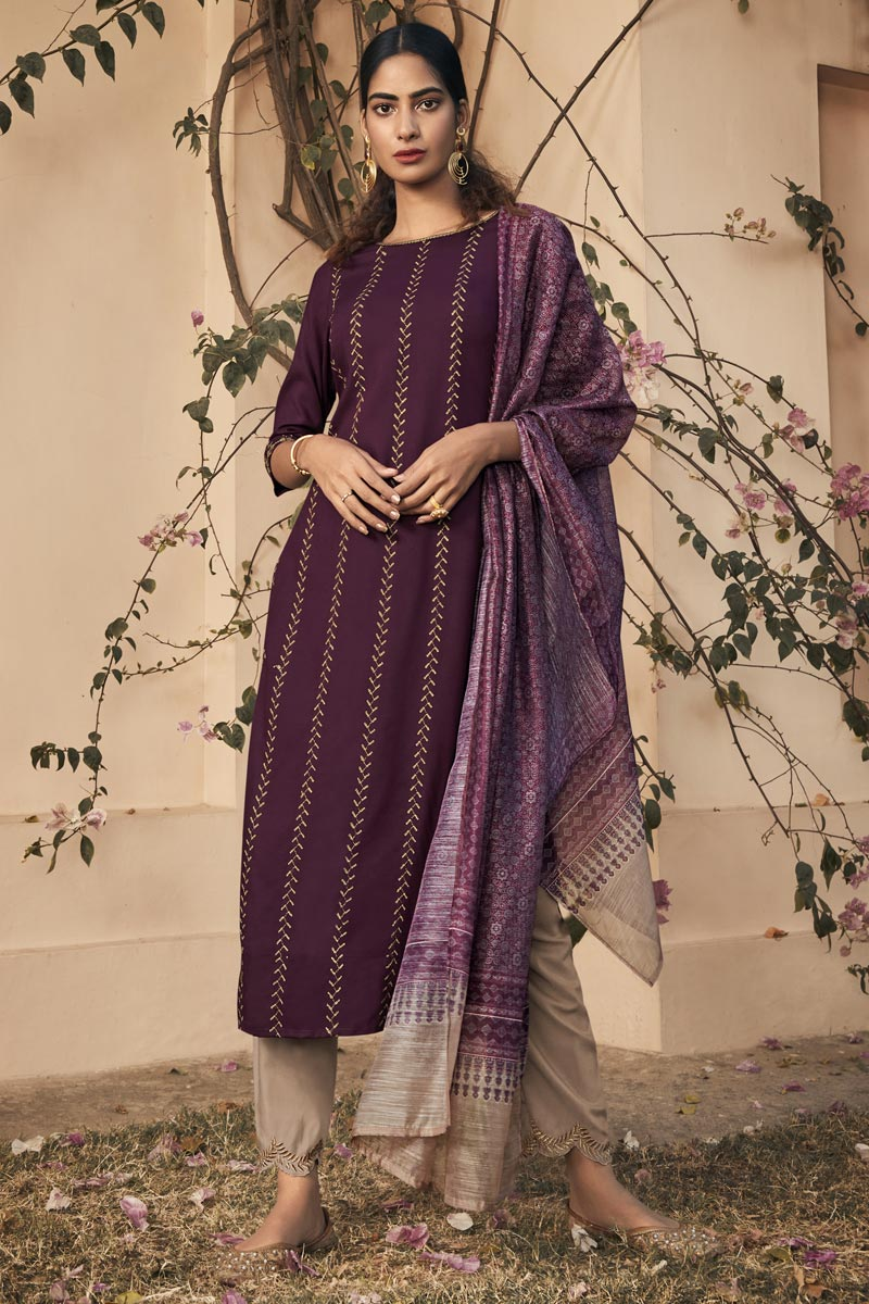 Rayon Fabric Party Wear Embroidered Readymade Straight Cut Suit In Purple Color