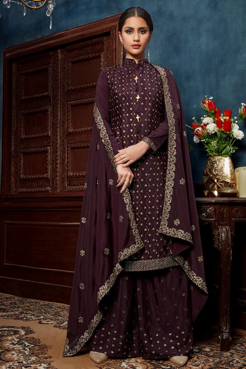 Purple Color Embroidered Palazzo Salwar Kameez In Chinon Fabric