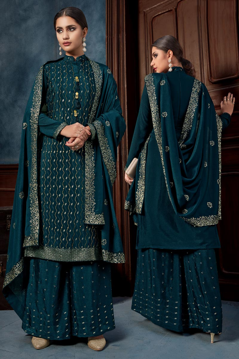 Chinon Fabric Party Wear Palazzo Salwar Suit In Teal Color With Embroidery Work