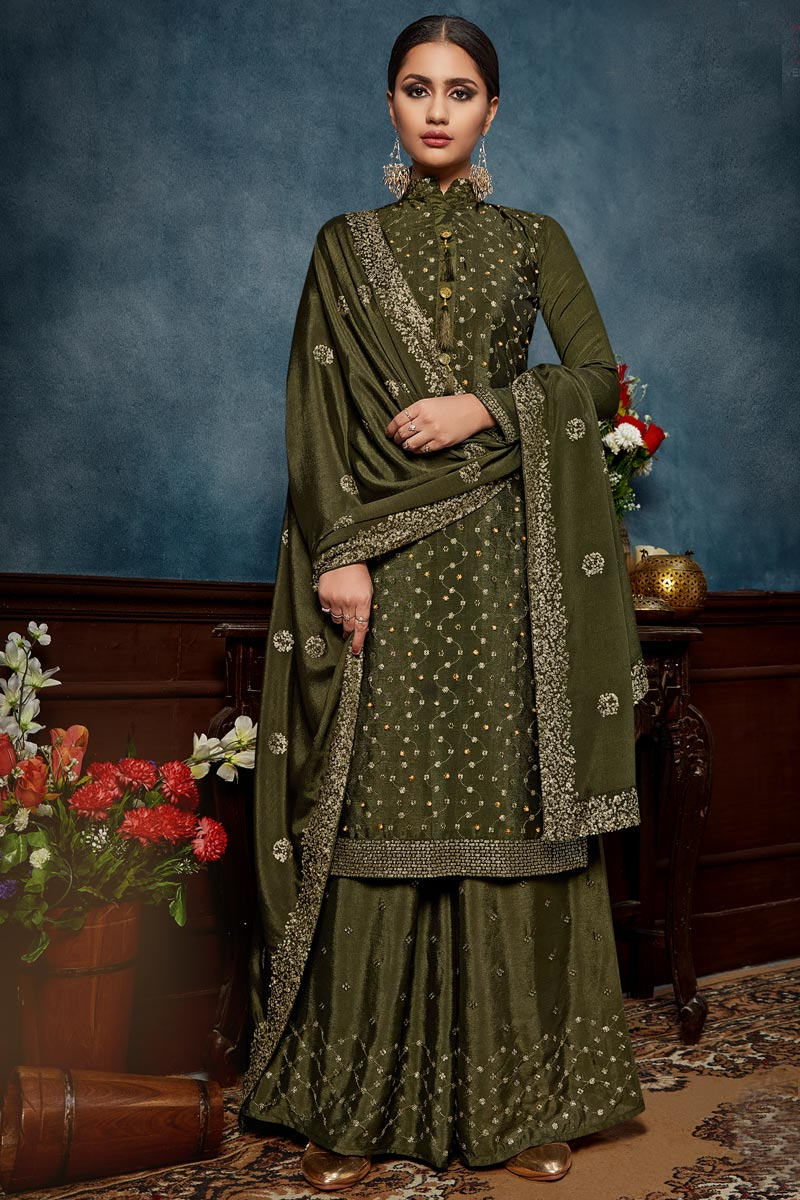 Dark Olive Color Chinon Fabric Function Wear Embroidered Palazzo Suit
