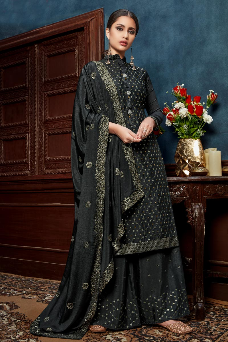 Occasion Wear Grey Color Embroidered Palazzo Salwar Kameez In Chinon Fabric
