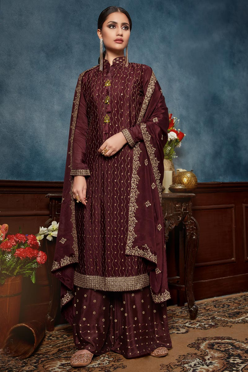 Embroidery Work Wine Color Chinon Fabric Palazzo Salwar Suit