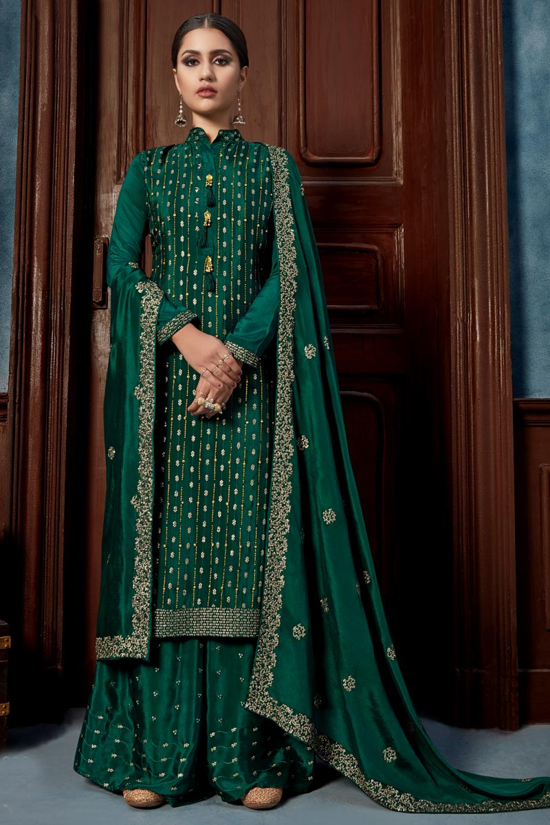 Chinon Fabric Dark Green Color Palazzo Suit With Embroidery Work