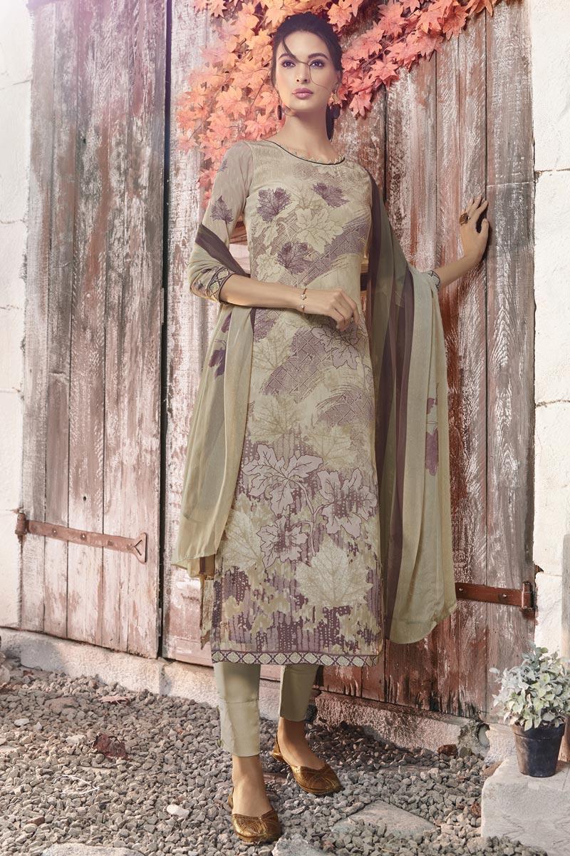Crepe Fabric Printed Casual Wear Straight Cut Dress In Cream