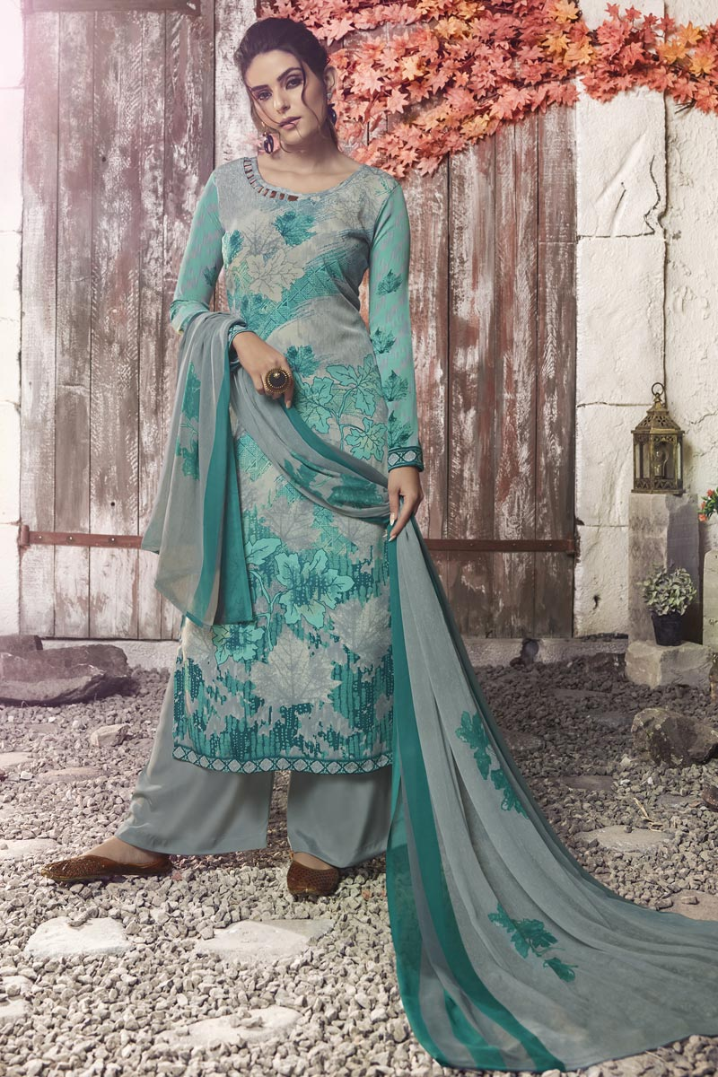 Crepe Fabric Casual Wear Printed Grey Palazzo Suit