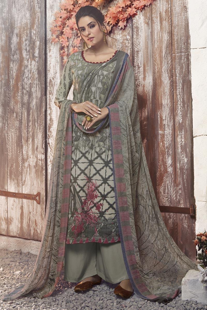 Grey Printed Casual Wear Palazzo Dress In Crepe Fabric