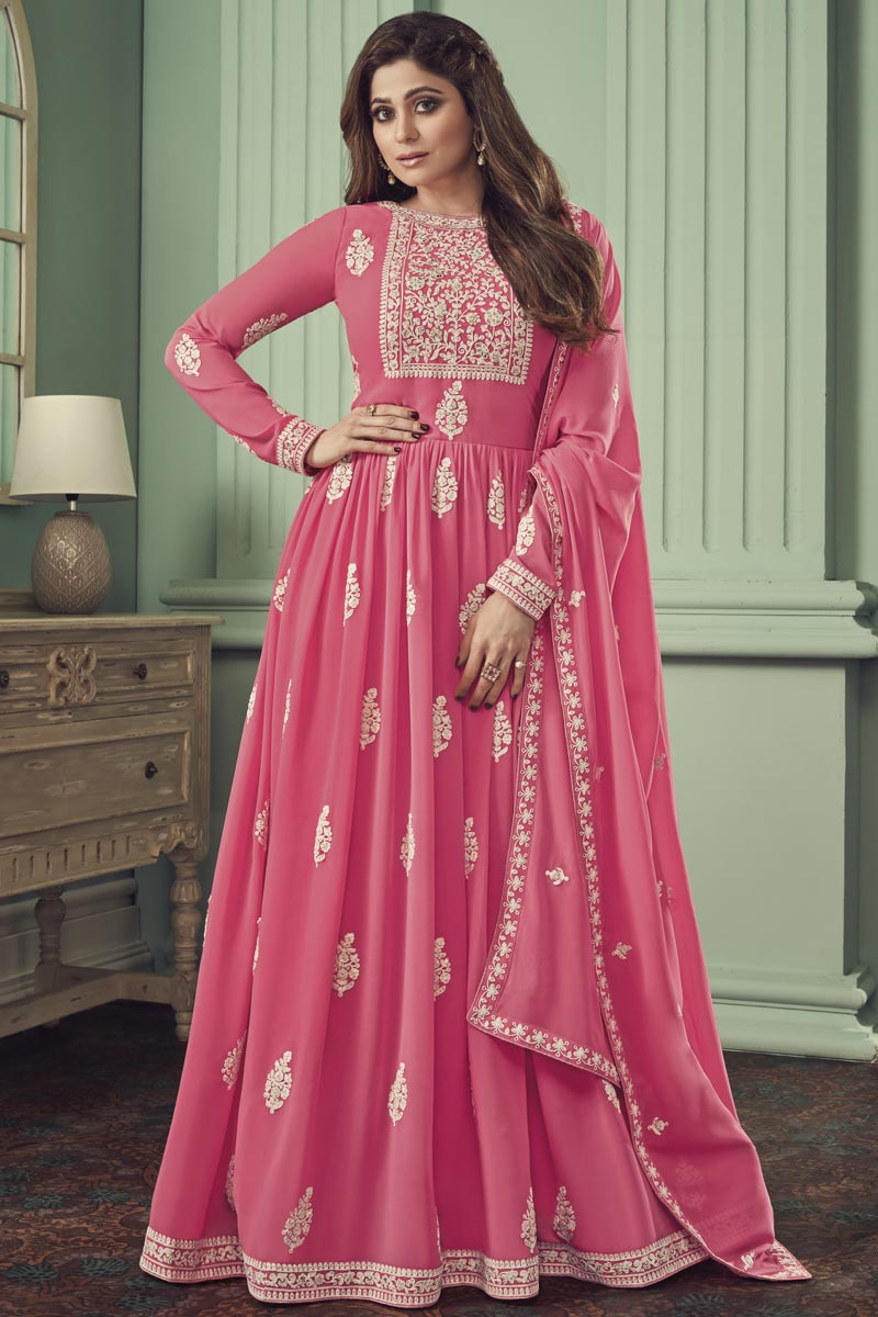 Shamita Shetty Georgette Function Wear Pink Color Embroidered Anarkali Suit