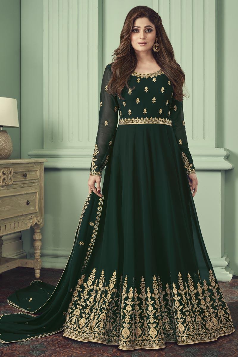 Shamita Shetty Dark Green Color Georgette Function Wear Embroidered Anarkali Dress