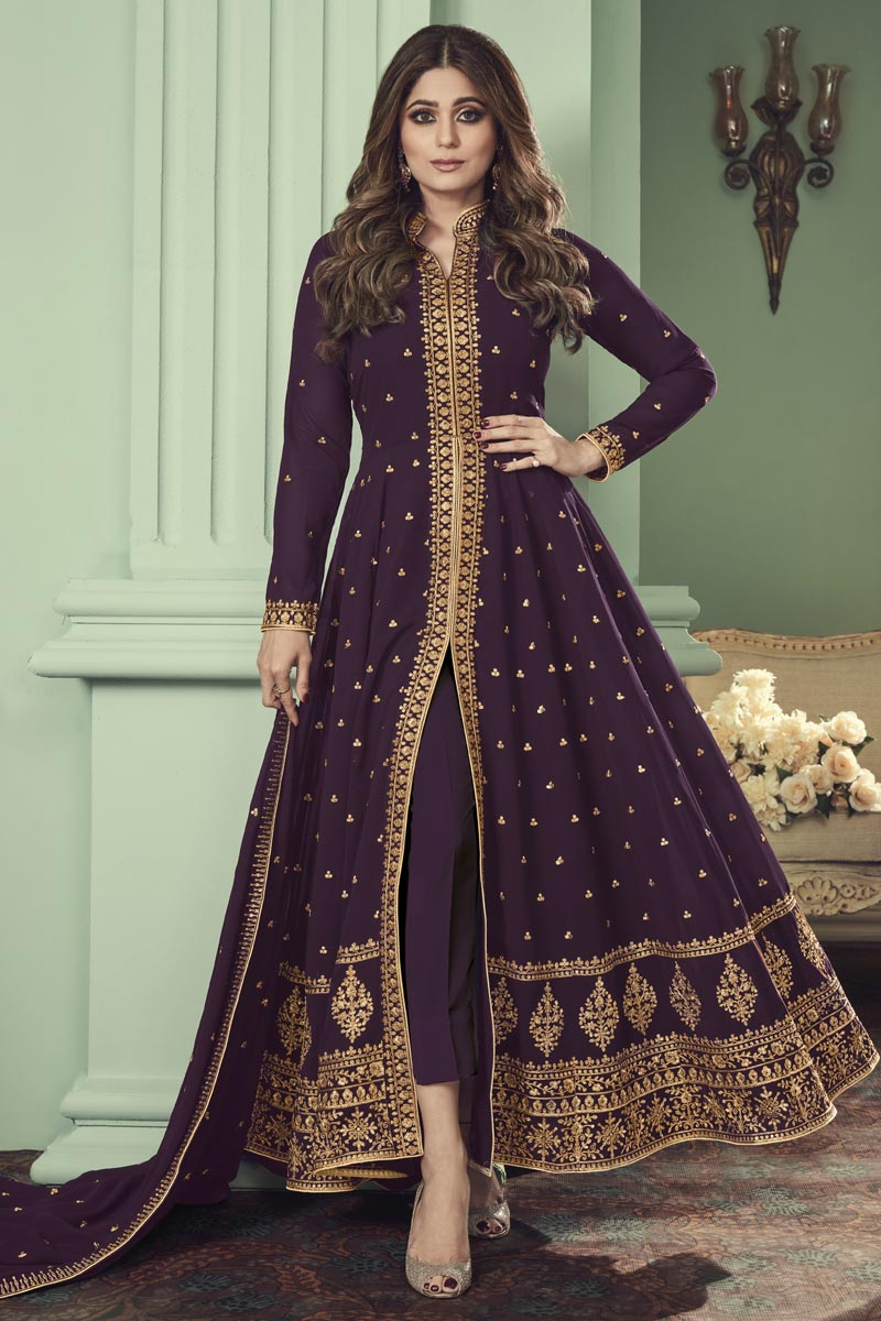Shamita Shetty Georgette Function Wear Embroidered Anarkali Suit In Purple Color