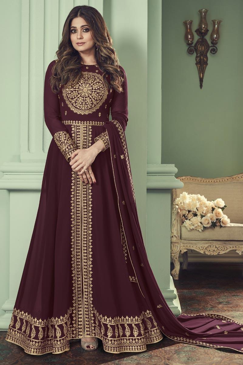 Shamita Shetty Function Wear Georgette Maroon Color Embroidered Anarkali Dress