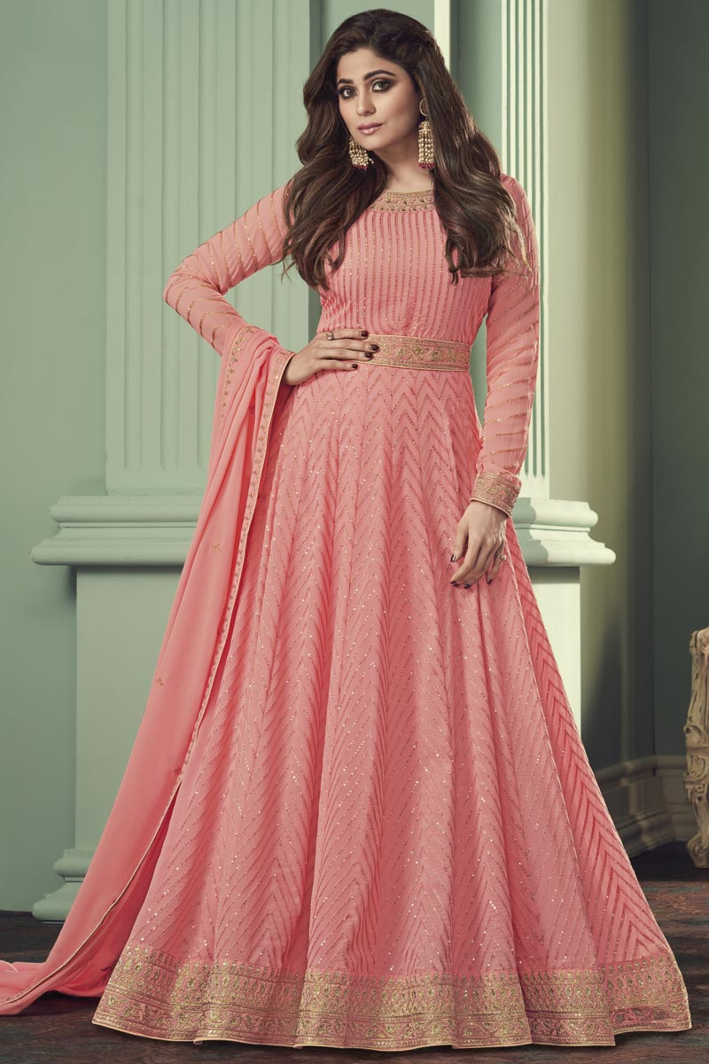 Shamita Shetty Peach Color Function Wear Embroidered Georgette Anarkali Suit