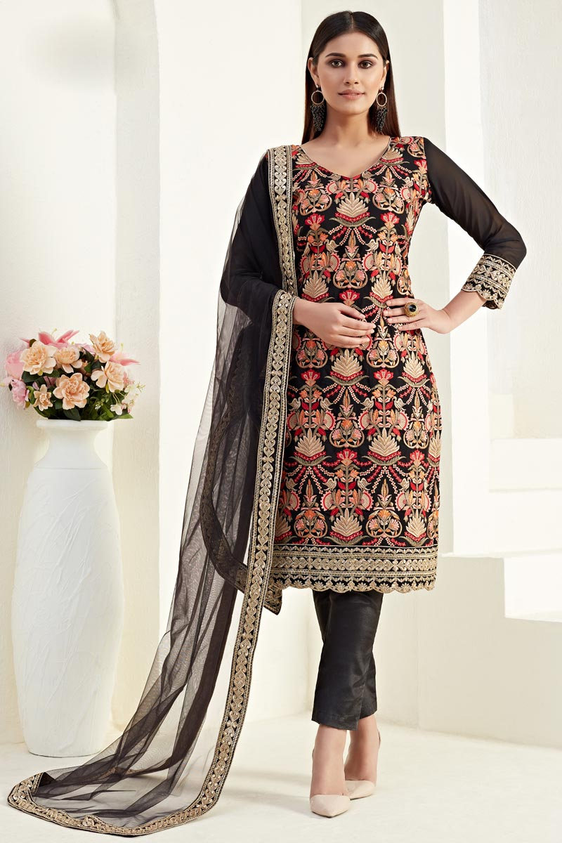 Party Style Black Color Thread Embroidered Straight Cut Suit In Georgette Fabric
