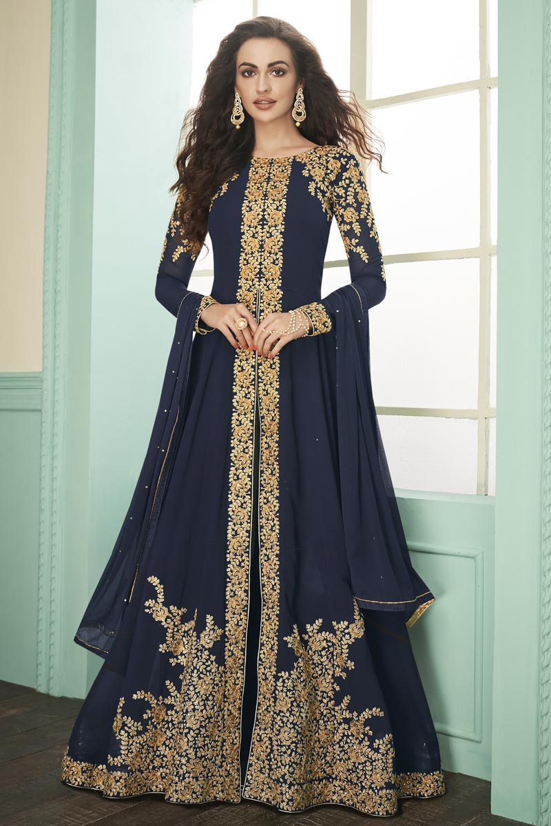 Party Style Georgette Fabric Embroidered Floor Length Anarkali Dress In Navy Blue Color