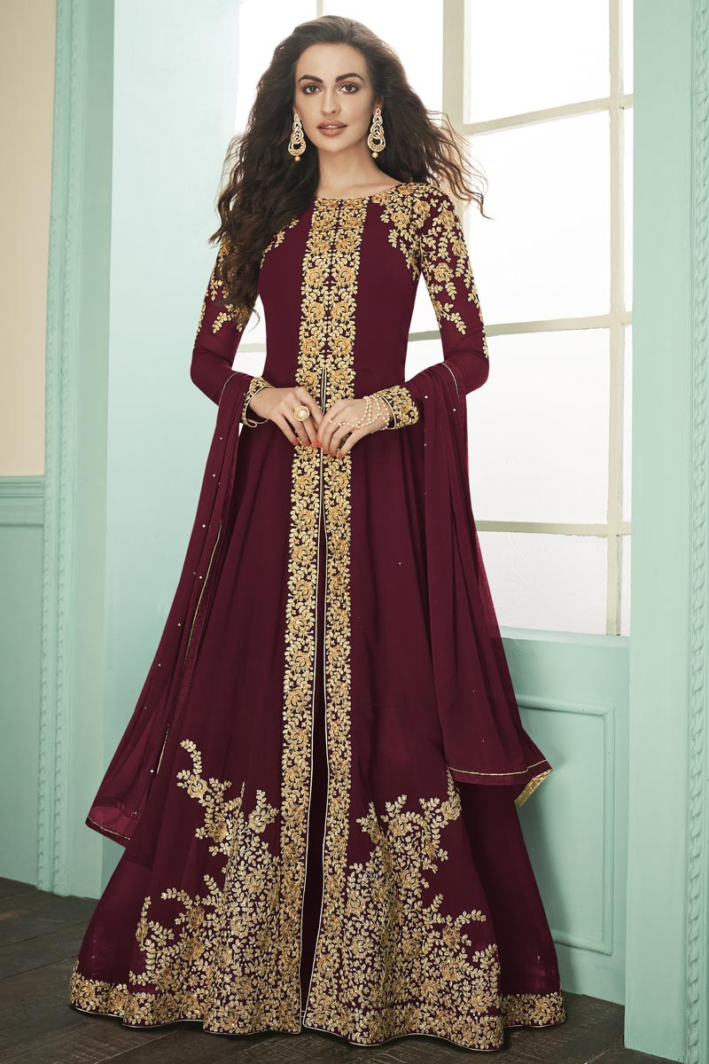 Georgette Fabric Party Style Maroon Color Embroidered Long Length Anarkali Suit