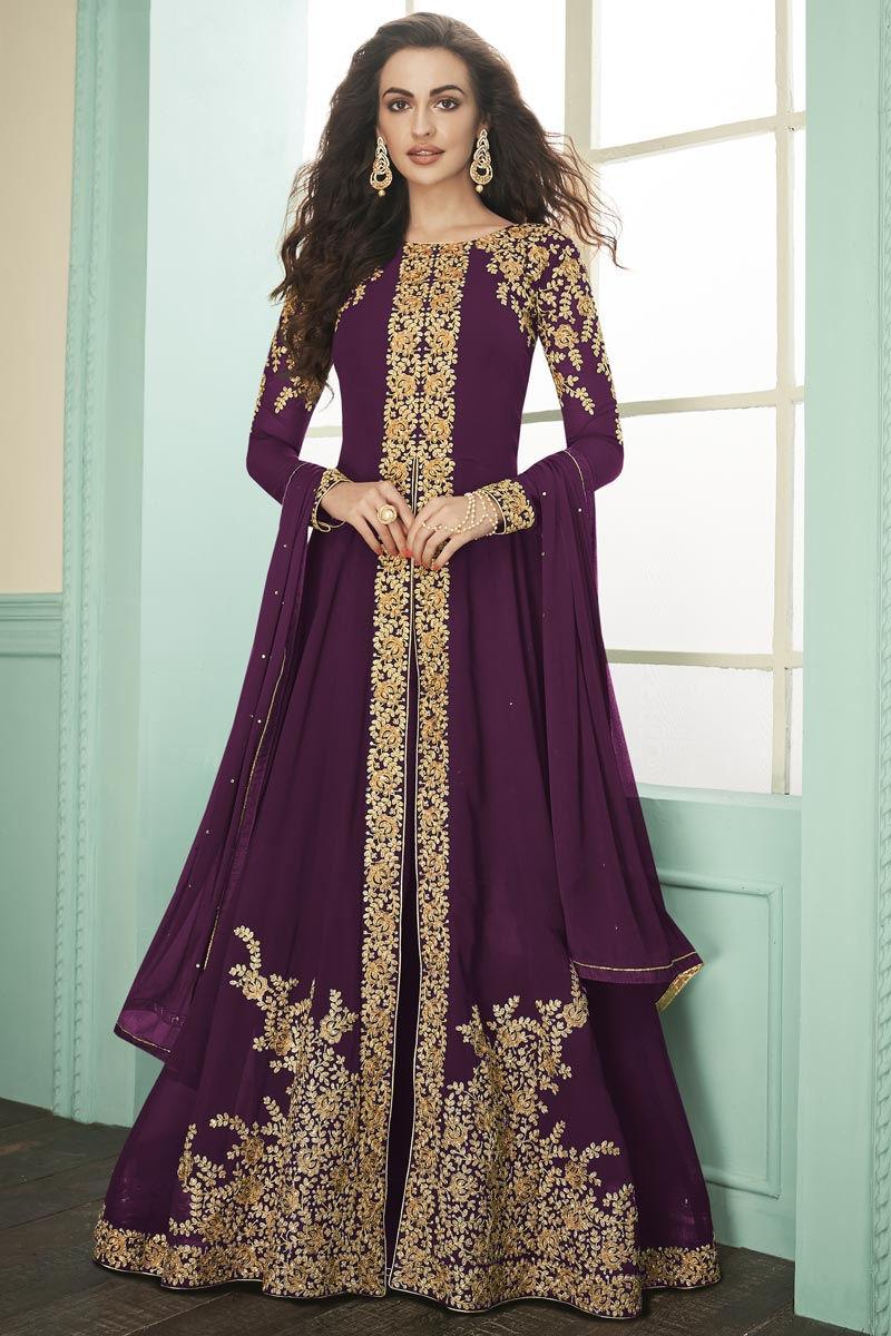 Purple Color Party Style Embroidered Floor Length Anarkali Dress In Georgette Fabric