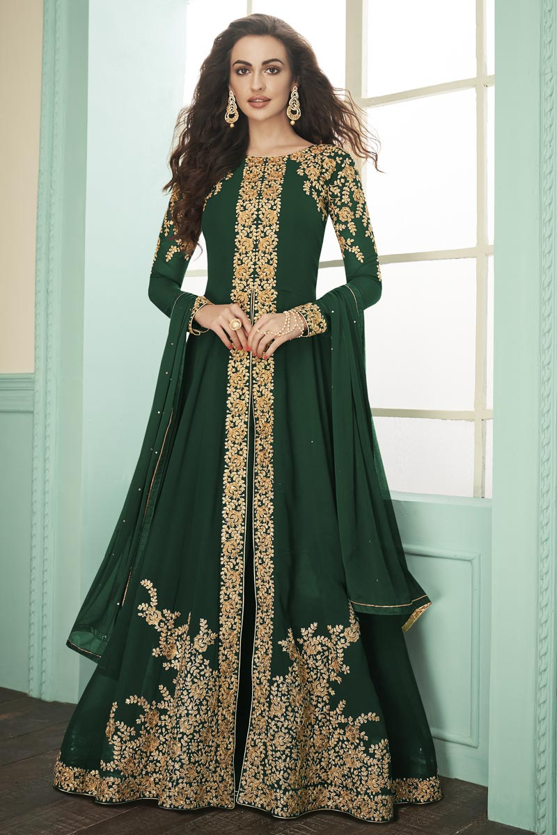 Party Style Dark Green Color Georgette Fabric Embroidered Long Length Anarkali Suit