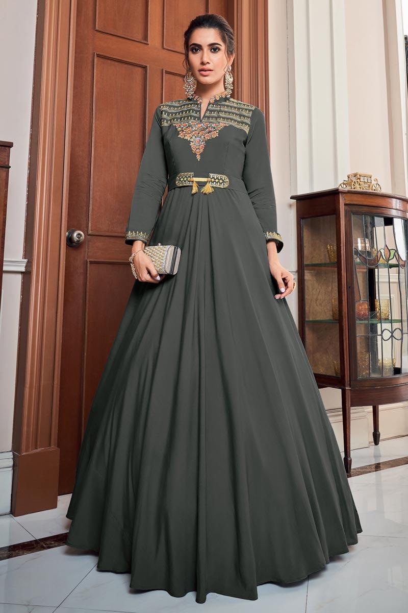 Designer Function Wear Grey Art Silk Embroidered Readymade Gown
